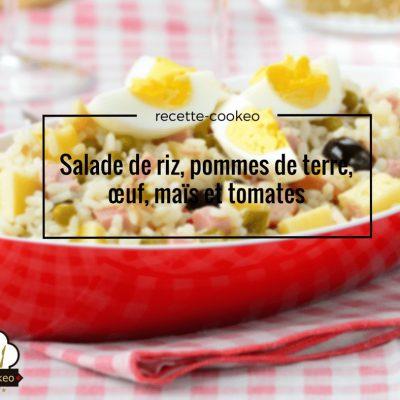 Salade de riz, pommes de terre, œuf, maïs et tomates